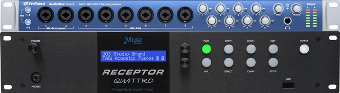RECEPTOR TRIO/QU4TTRO: the Ultimate Synth / Sampler - Play VST plug-ins LIVE with the RECEPTOR QU4TTRO <sup>tm</sup> Hardware plug-in Player.